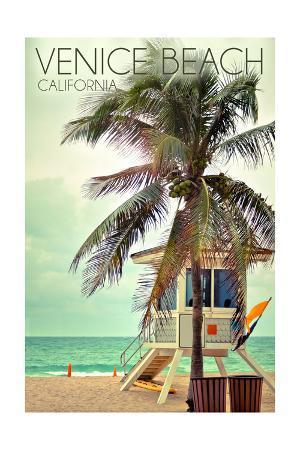 Venice Beach, California - Lifeguard Shack and Palm