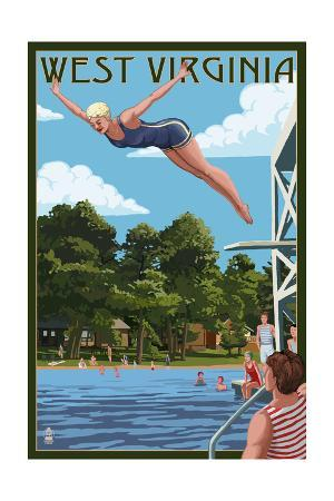 West Virginia - Woman Diving and Lake