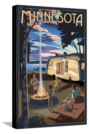 Minnesota - Retro Camper and Lake