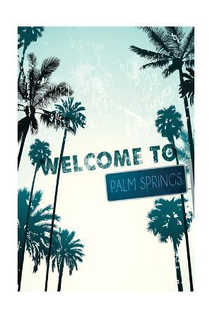 Palm Springs, California - Street Sign and Palms