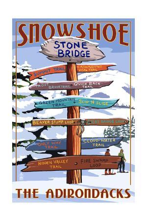 New York - the Adirondacks - Stone Bridge Snowshoe Signpost