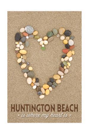 Huntington Beach, California Is Where My Heart Is - Stone Heart on Sand