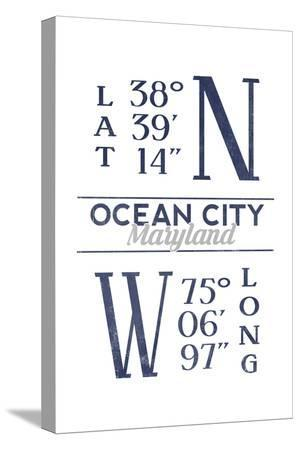 Ocean City, Maryland - Latitude and Longitude (Blue)