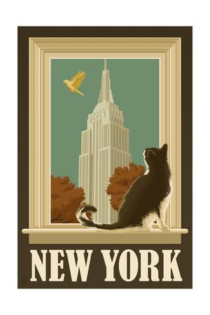 New York, New York - Empire State Buildin and Cat Window