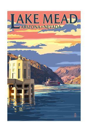 Lake Mead, Nevada / Arizona - Paddleboat and Hoover Dam