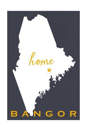 Bangor, Maine - Home State - White on Gray