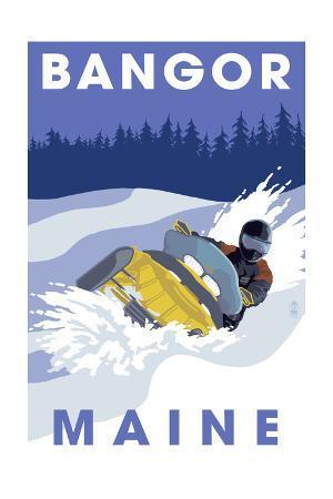 Bangor, Maine - Snowmobile Scene
