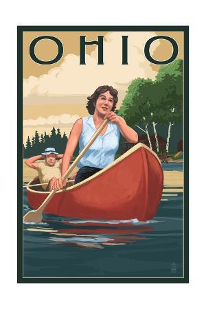 Ohio - Canoers on Lake