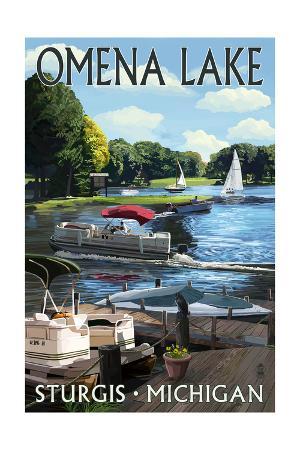 Sturgis, Michigan - Omena Lake - Pontoon Boats