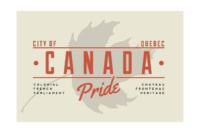 Quebec, Canada Pride - Gray Maple Leaf Typography