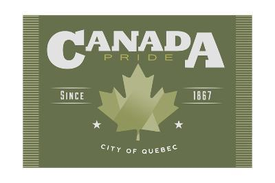 Quebec, Canada Pride - Green Maple Leaf Typography