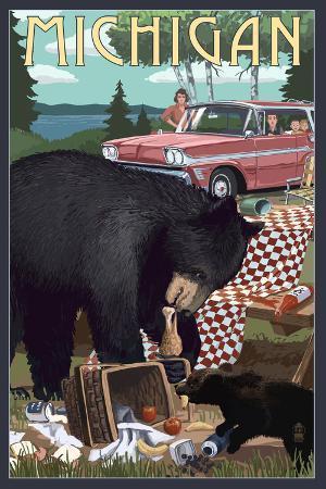 Michigan - Bear and Picnic Scene
