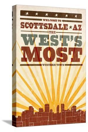 Scottsdale, Arizona - Skyline and Sunburst Screenprint Style