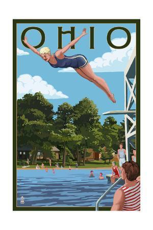 Ohio - Woman Diving and Lake