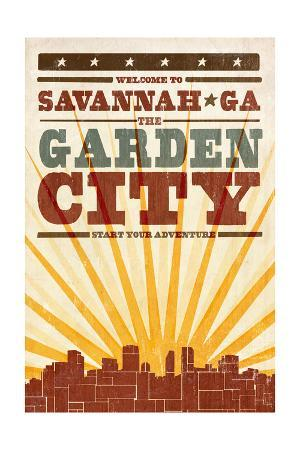 Savannah, Georgia - Skyline and Sunburst Screenprint Style
