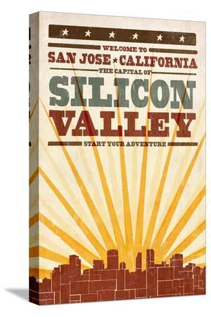 San Jose, California - Skyline and Sunburst Screenprint Style