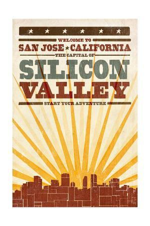 San Jose, California - Skyline and Sunburst Screenprint Style