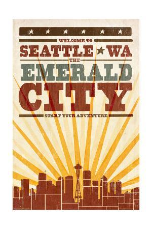 Seattle, Washington - Skyline and Sunburst Screenprint Style