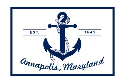 Annapolis, Maryland - Blue and White Anchor