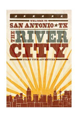 San Antonio, Texas - Skyline and Sunburst Screenprint Style