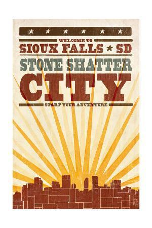 Sioux Falls, South Dakota - Skyline and Sunburst Screenprint Style