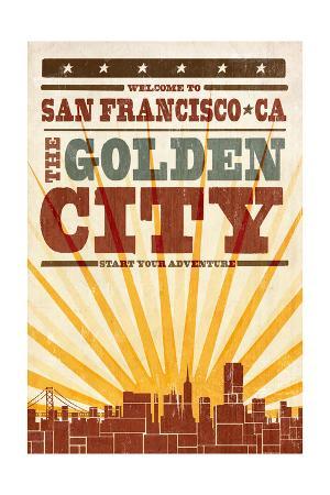 San Francisco, California - Skyline and Sunburst Screenprint Style
