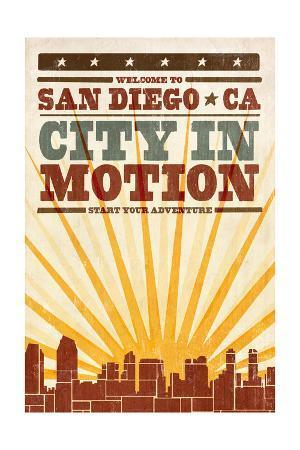 San Diego, California - Skyline and Sunburst Screenprint Style