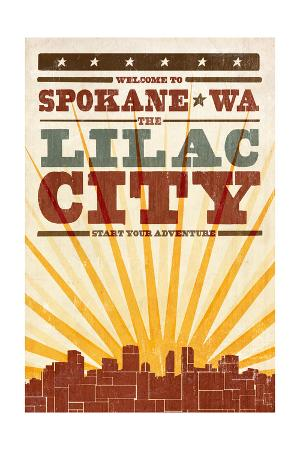 Spokane, Washington - Skyline and Sunburst Screenprint Style