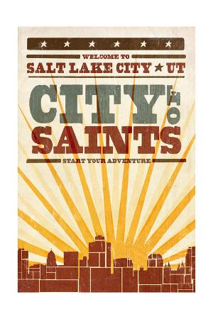 Salt Lake City, Utah - Skyline and Sunburst Screenprint Style