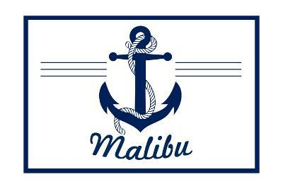 Malibu, California - Blue and White Anchor