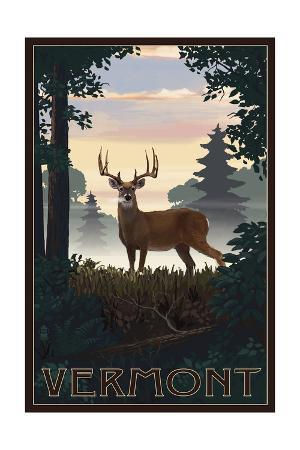 Vermont - Deer and Sunrise