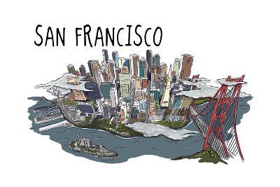 San Francisco, California - Line Drawing