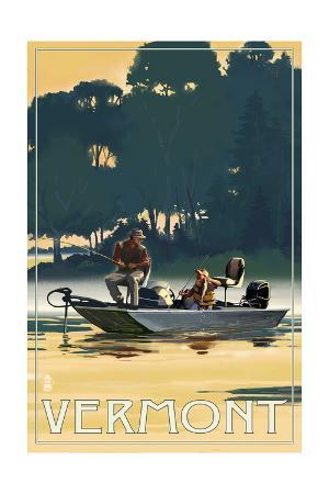 Vermont - Fishermen in Boat