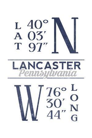 Lancaster, Pennsylvania - Latitude and Longitude (Blue)