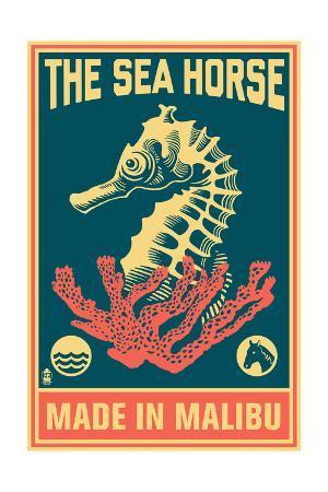 Malibu, California - Seahorse Woodblock (Blue and Pink)