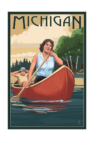 Michigan - Canoers on Lake