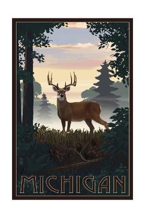 Michigan - Deer and Sunrise