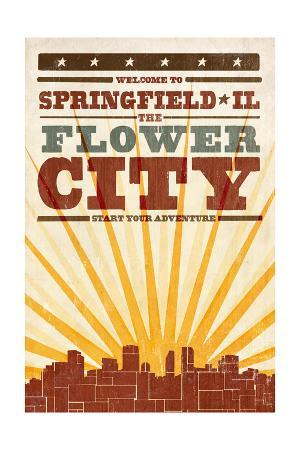Springfield, Illinois - Skyline and Sunburst Screenprint Style