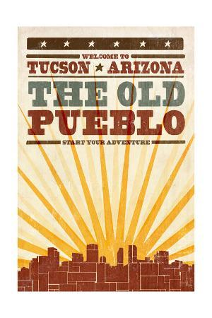 Tucson, Arizona - Skyline and Sunburst Screenprint Style