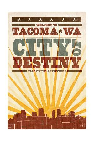 Tacoma, Washington - Skyline and Sunburst Screenprint Style