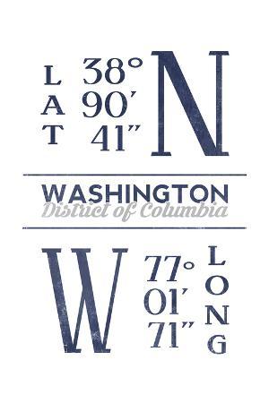 Washington D.C. - Latitude and Longitude (Blue)