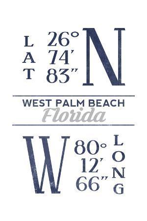 West Palm Beach, Florida - Latitude and Longitude (Blue)