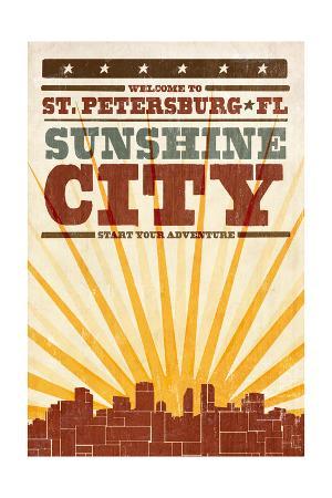 St. Petersburg, Florida - Skyline and Sunburst Screenprint Style