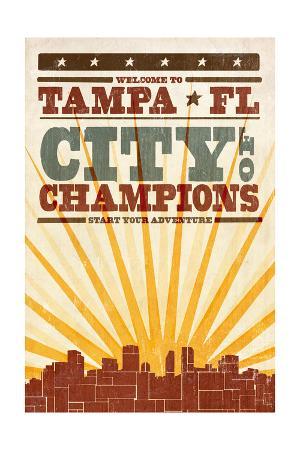 Tampa, Florida - Skyline and Sunburst Screenprint Style
