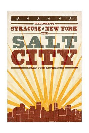 Syracuse, New York - Skyline and Sunburst Screenprint Style
