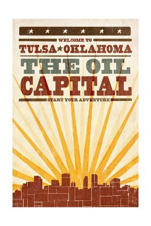 Tulsa, Oklahoma - Skyline and Sunburst Screenprint Style