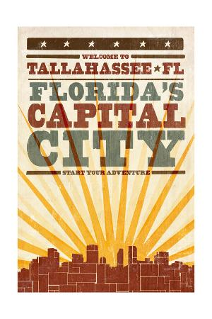 Tallahassee, Florida - Skyline and Sunburst Screenprint Style