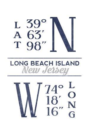 Long Beach Island, New Jersey - Latitude and Longitude (Blue)