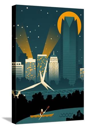Oklahoma City, Oklahoma - Retro Skyline (no text)