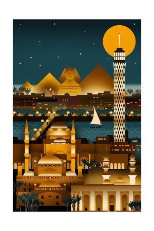 Cairo, Egypt - Retro Skyline (no text)